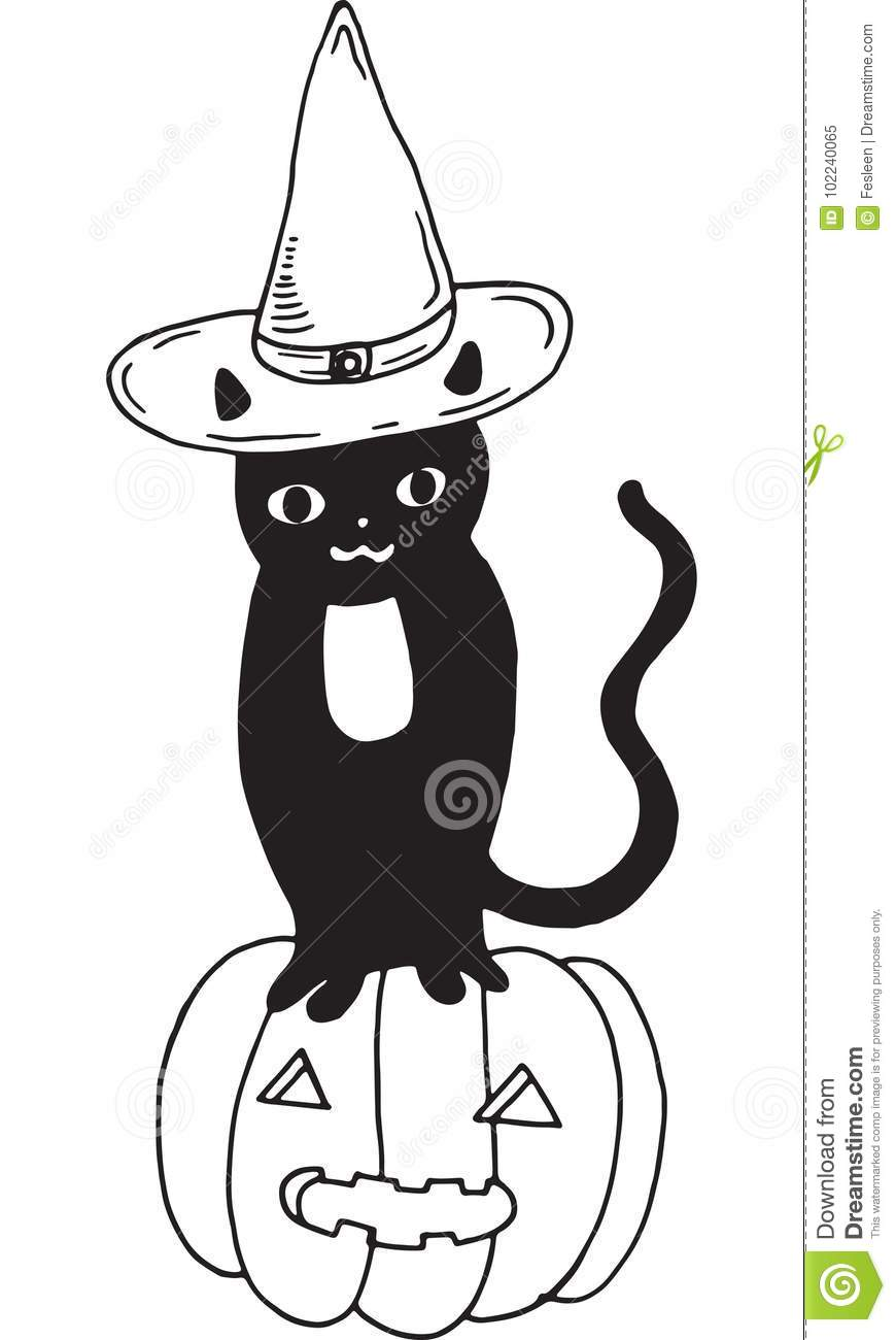 a440eeea Black cat with hat and pumpkin. Halloween illustration. More similar stock  illustrations