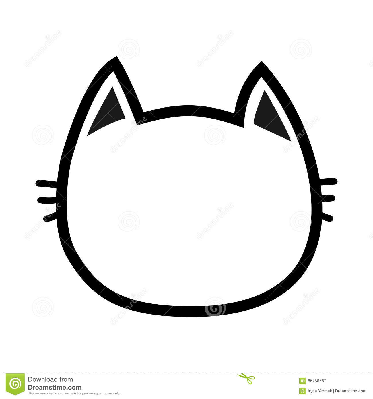Black Cat Head Face Contour Silhouette Icon. Line Pictogram. Cute Funny Cartoon Character. Kitty ...