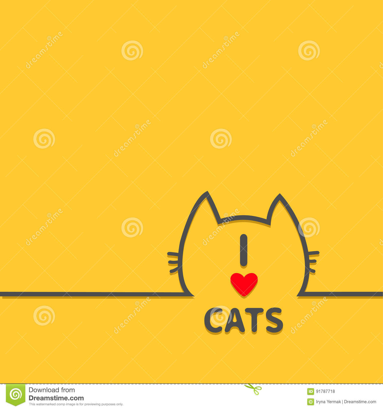 Black cat head face contour silhouette line icon. Cute cartoon character. I love cats heart Text lettering. Kitty kitten whisker B