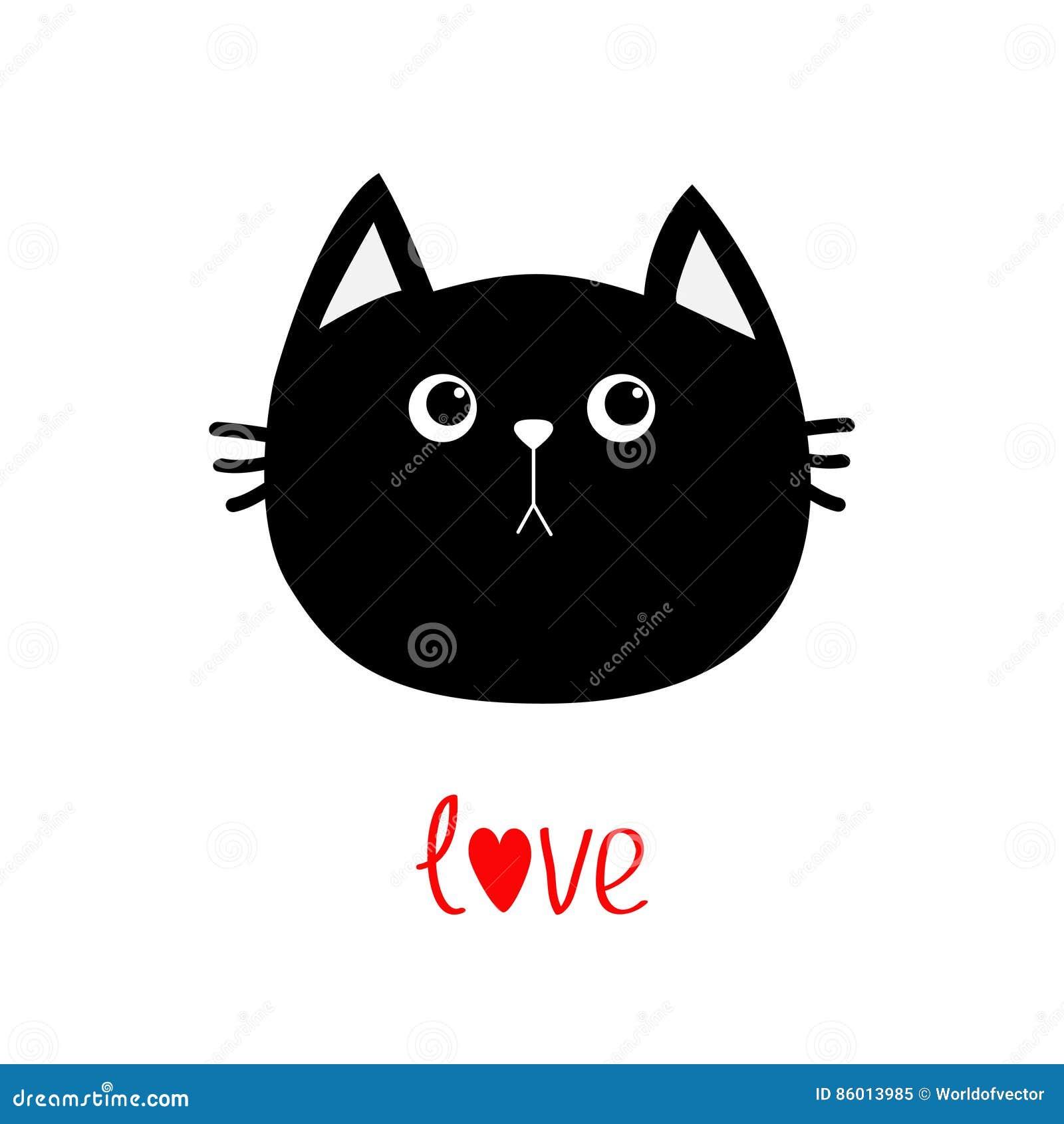 Black Cat Head Icon Cute Funny Cartoon Character Love Word Happy