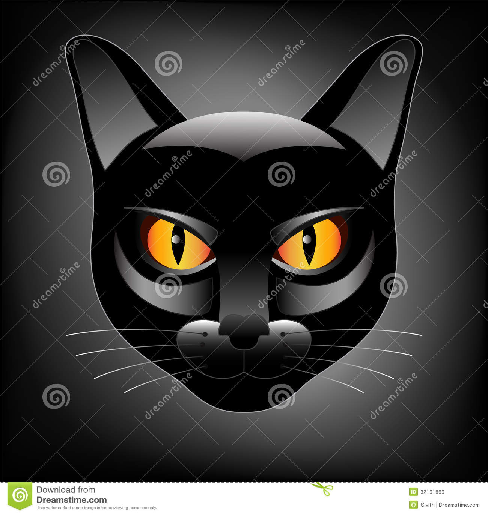Halloween Black Cat Head Logo Royalty Free Stock Images