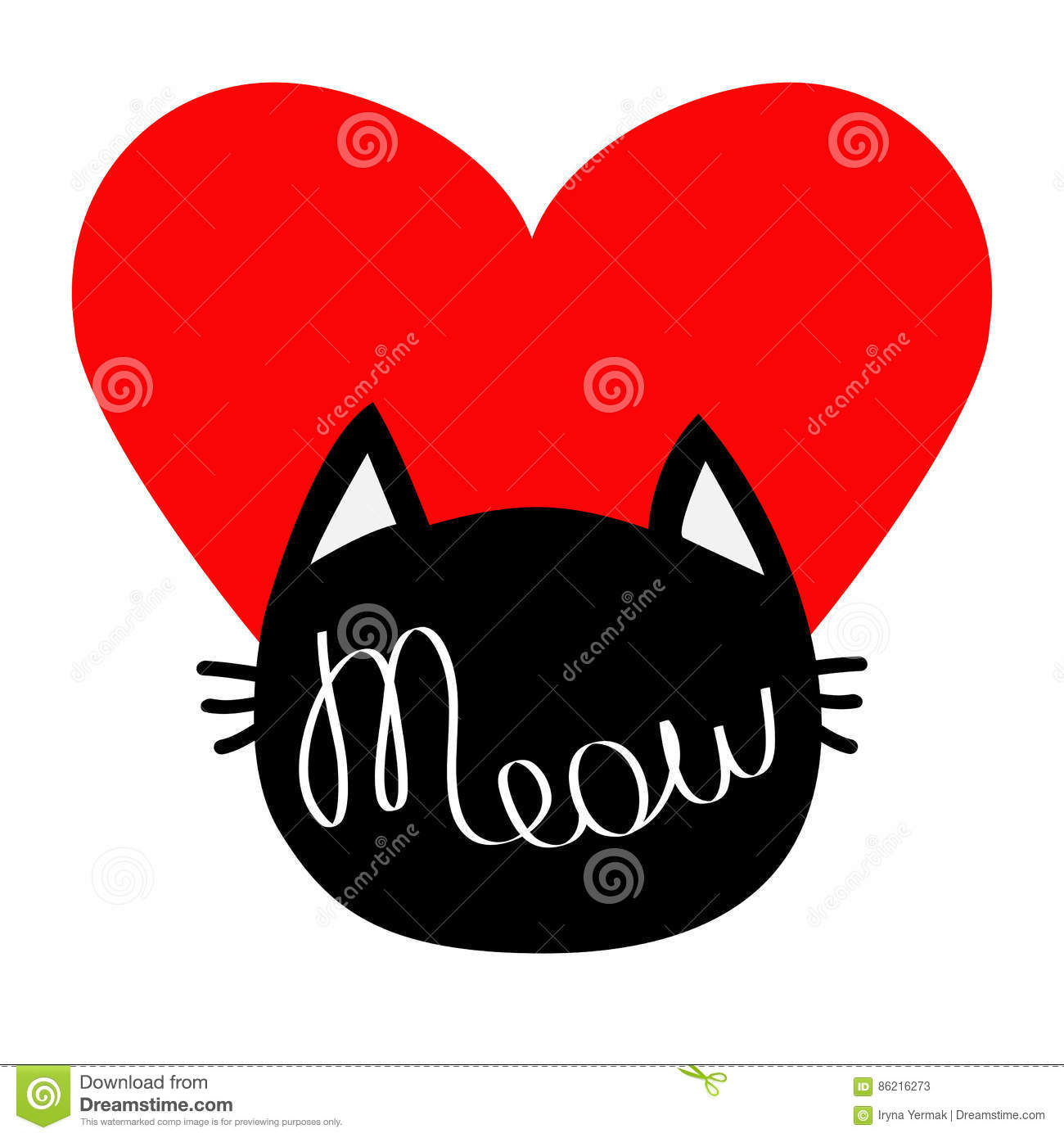Black cat head silhouette shape meow lettering text cute cartoon meow lettering text cute cartoon character big red heart love card kawaii animal baby pet co buycottarizona Image collections