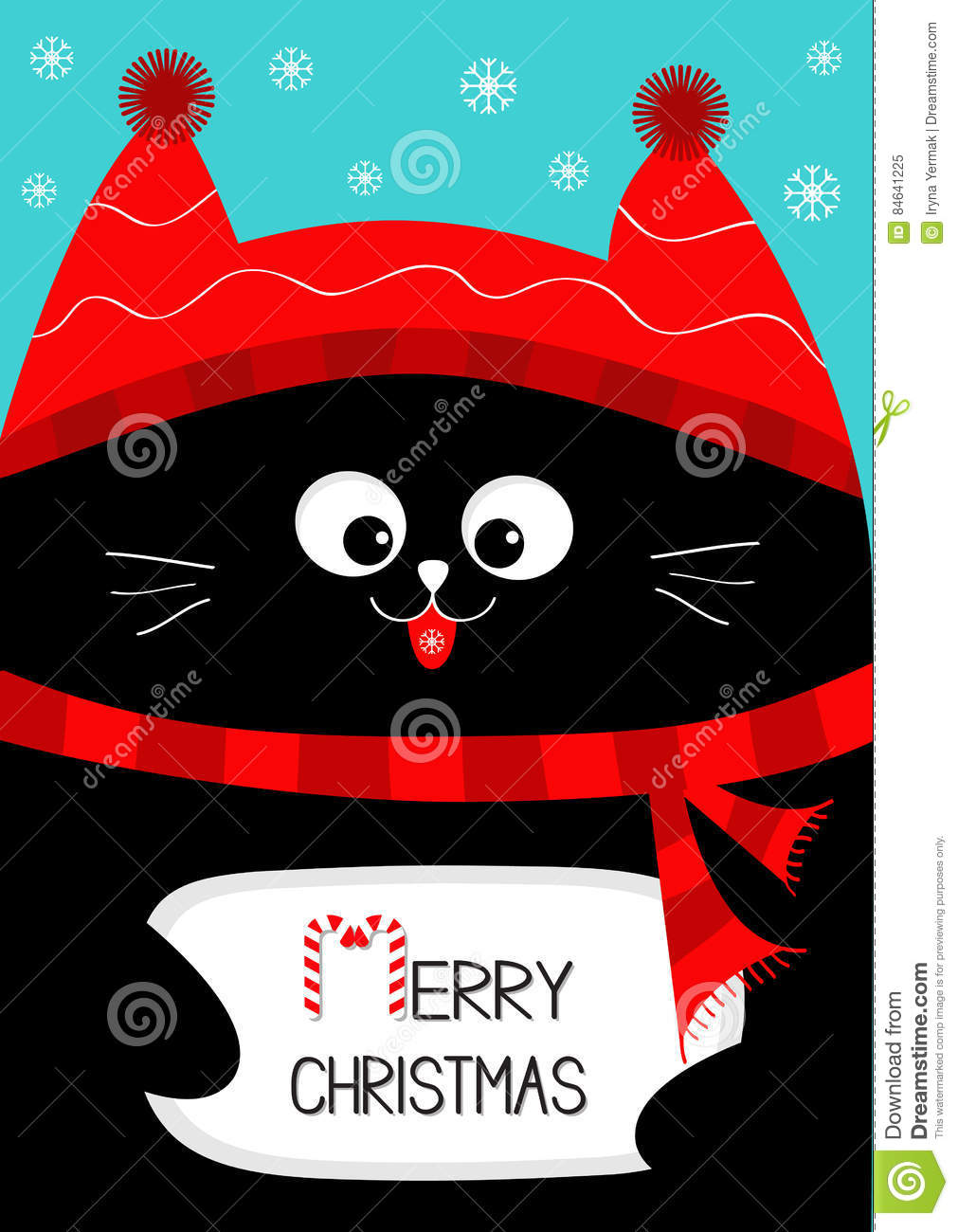 download black cat holding merry christmas text with candy cane cute funny cartoon character - Funny Merry Christmas