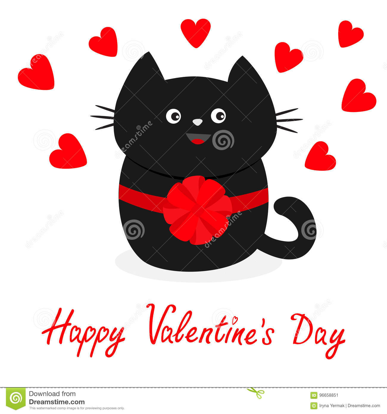 Black Cat Icon With Round Bow Red Heart Set Cute Funny Cartoon