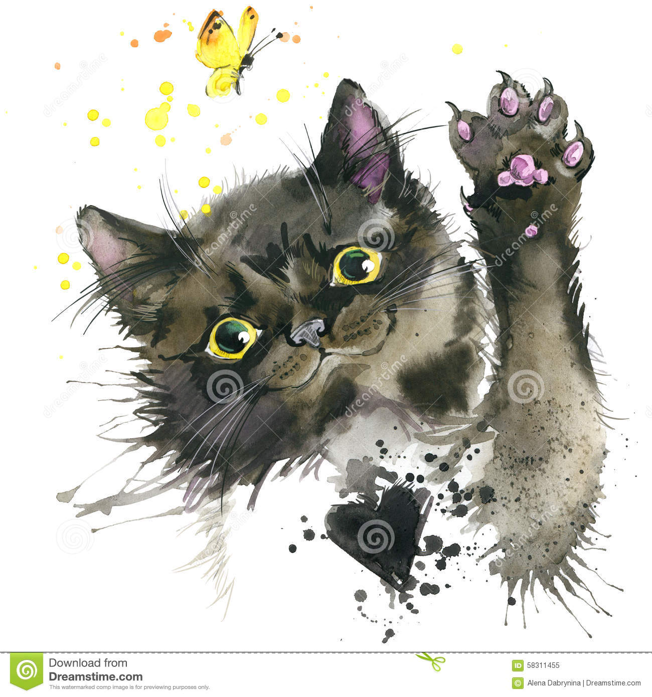 Black Cat Illustration With Splash Watercolor Textured
