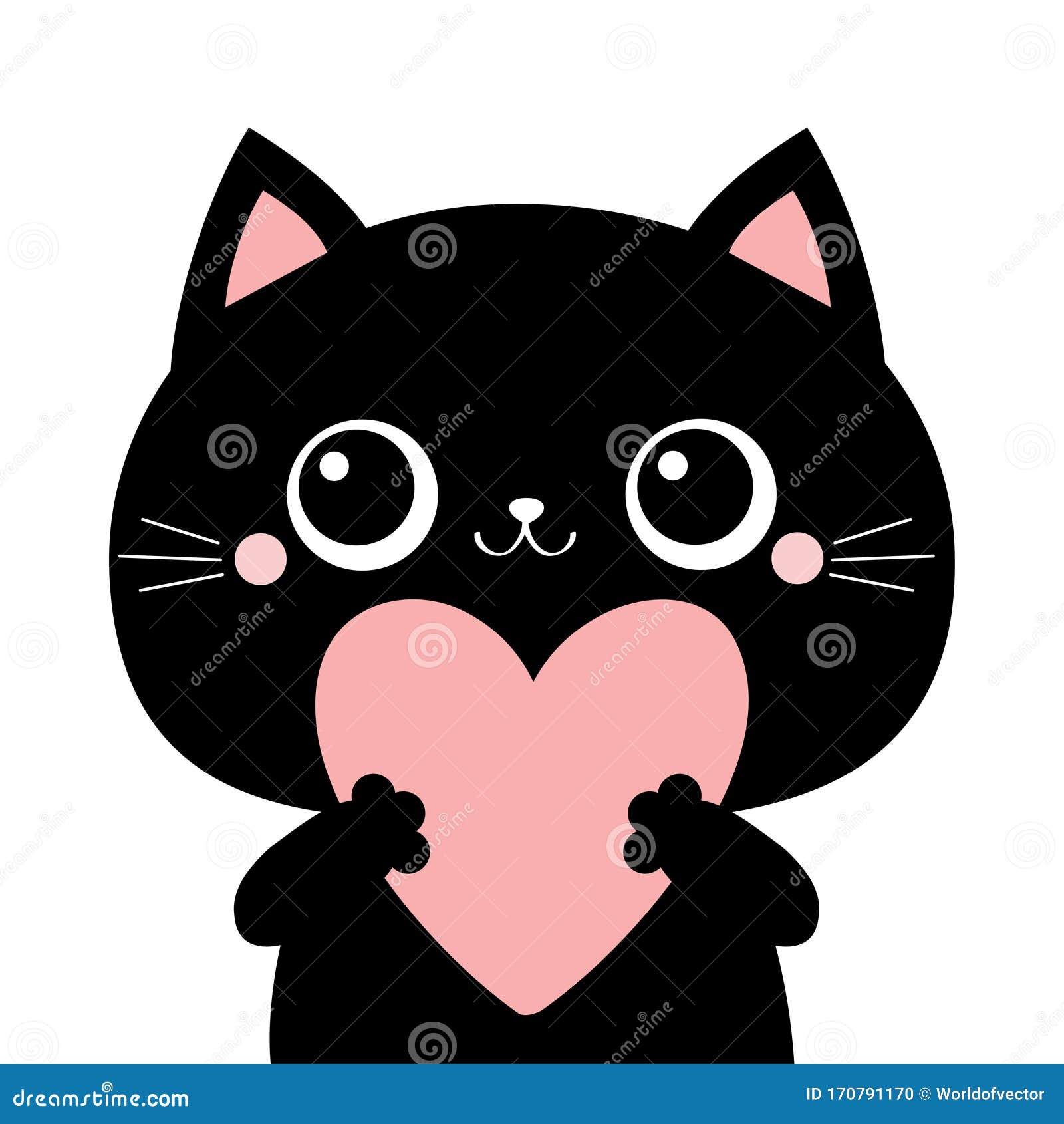 Black Cat Kitten Kitty Head Face Holding Big Pink Heart Happy
