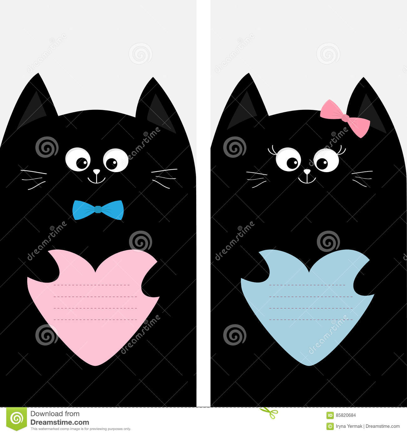 Black cat kitty family holding blue pink heart shape paper poster royalty free vector pronofoot35fo Images
