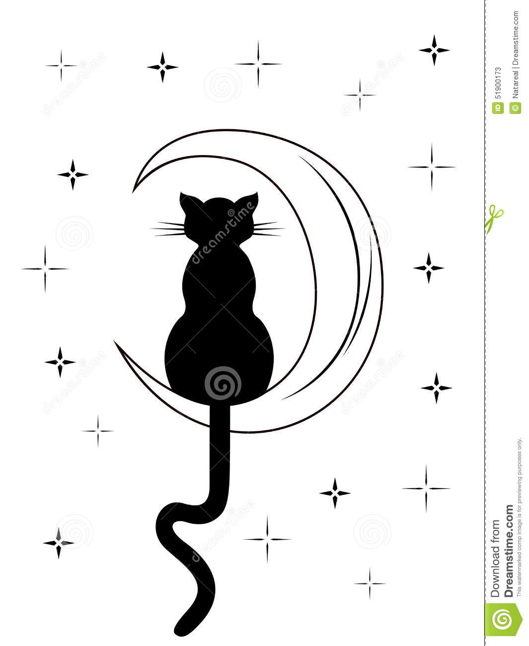 Black Cat With Long Tail Sitting On The Moon Stock Vector