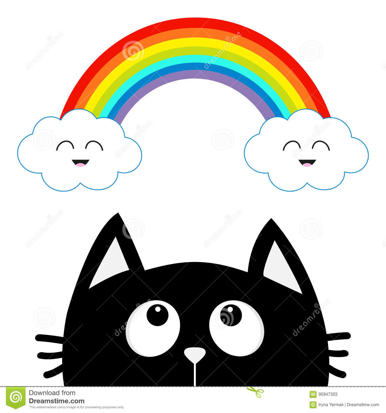 Cute Cloud Kawaii Face Vector Illustration | CartoonDealer ...
