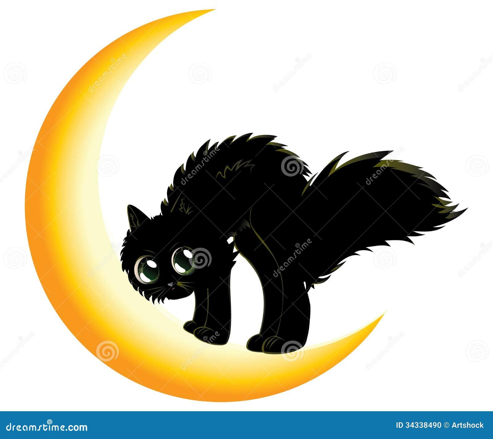 Black Cat On Moon Stock Photo - Image: 34338490
