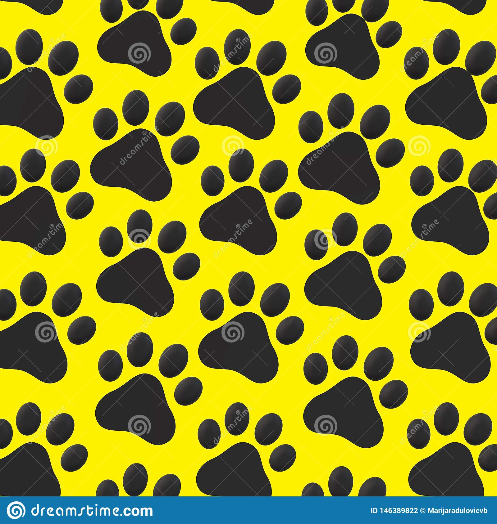 Black Cat Paws On Yellow Background Pattern Stock Illustration Illustration Of Yellow Background 146389822