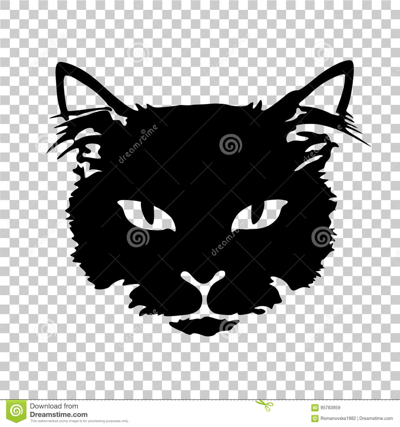 Black Cat Silhouette Tattoo Stock Vector Illustration Of Portrait