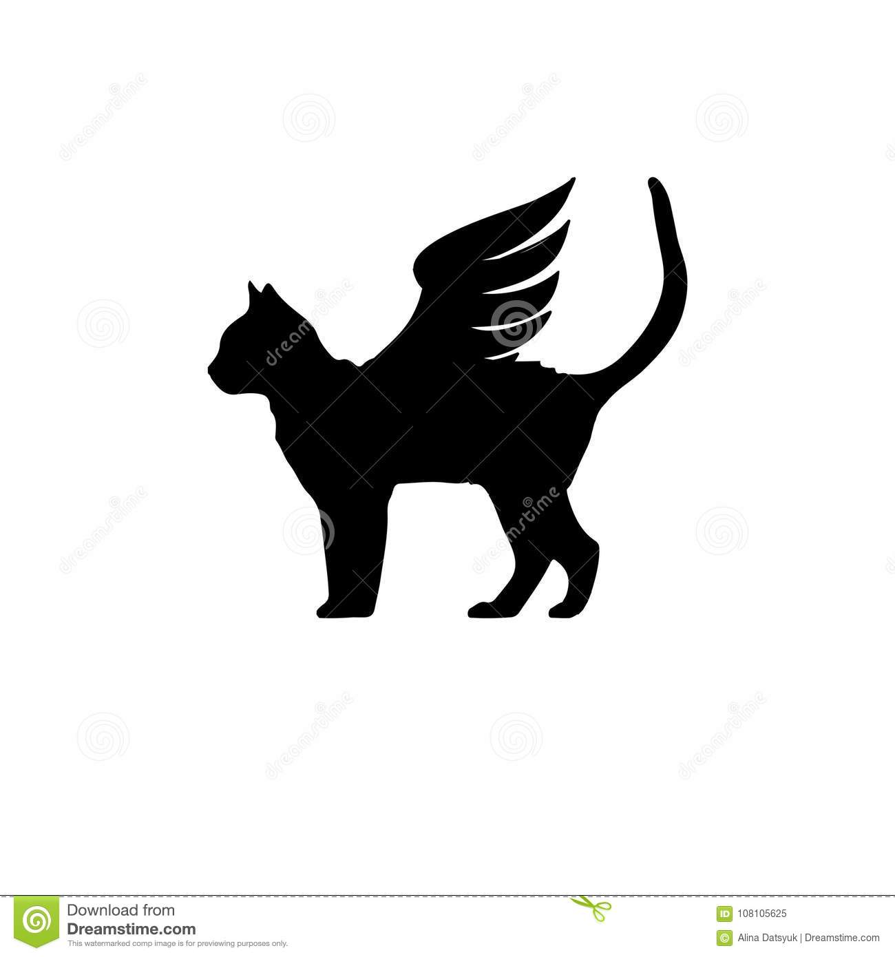 Black Cat With Wings Cat With Wings Icon Stock Vector