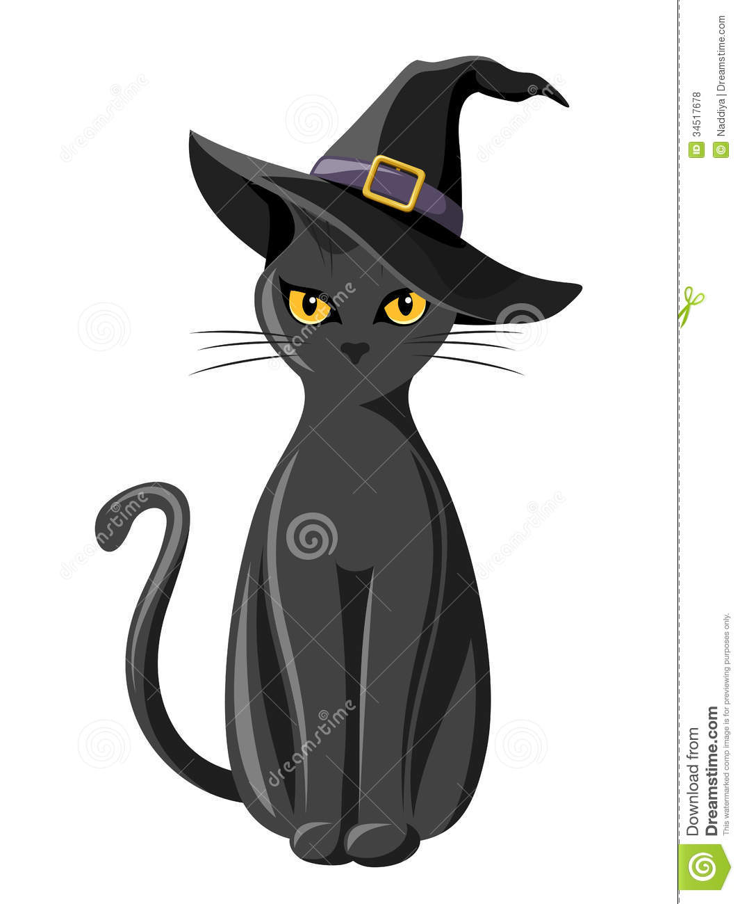 black cat with witches hat royalty free stock photos