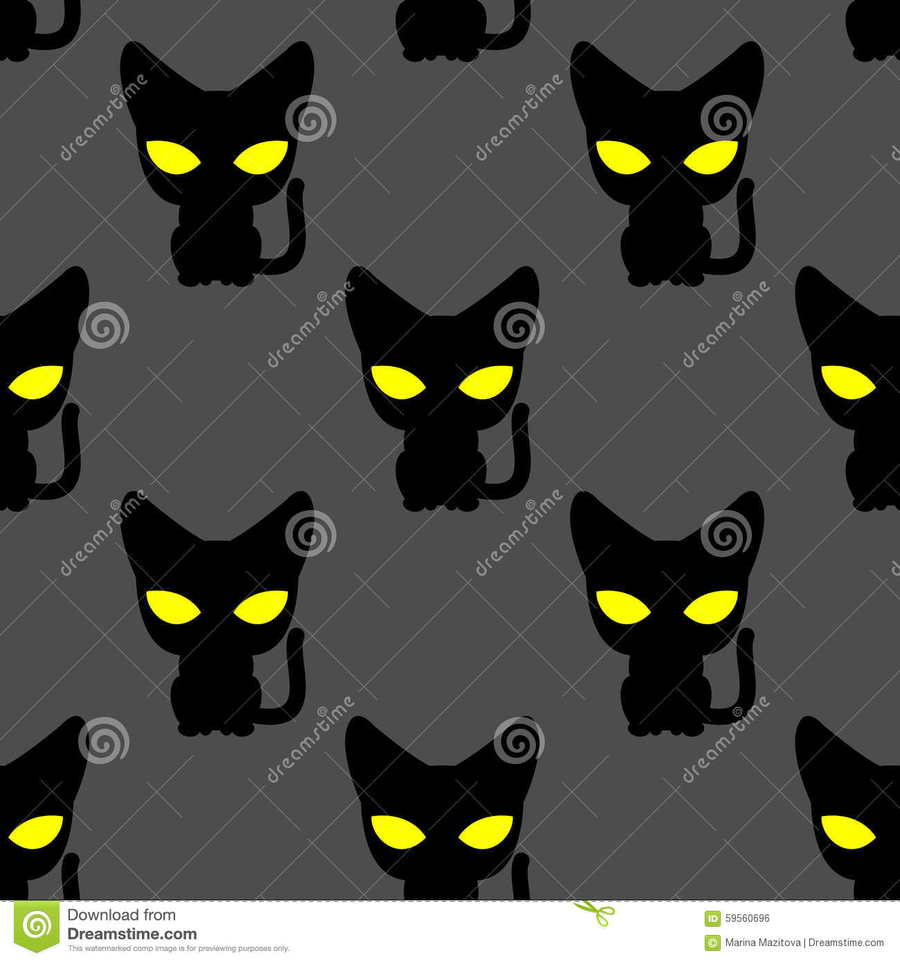 f577fb036d18 Illustration: Black Cat With Yellow Eyes At Night Seamless Pattern. Vector  Bac