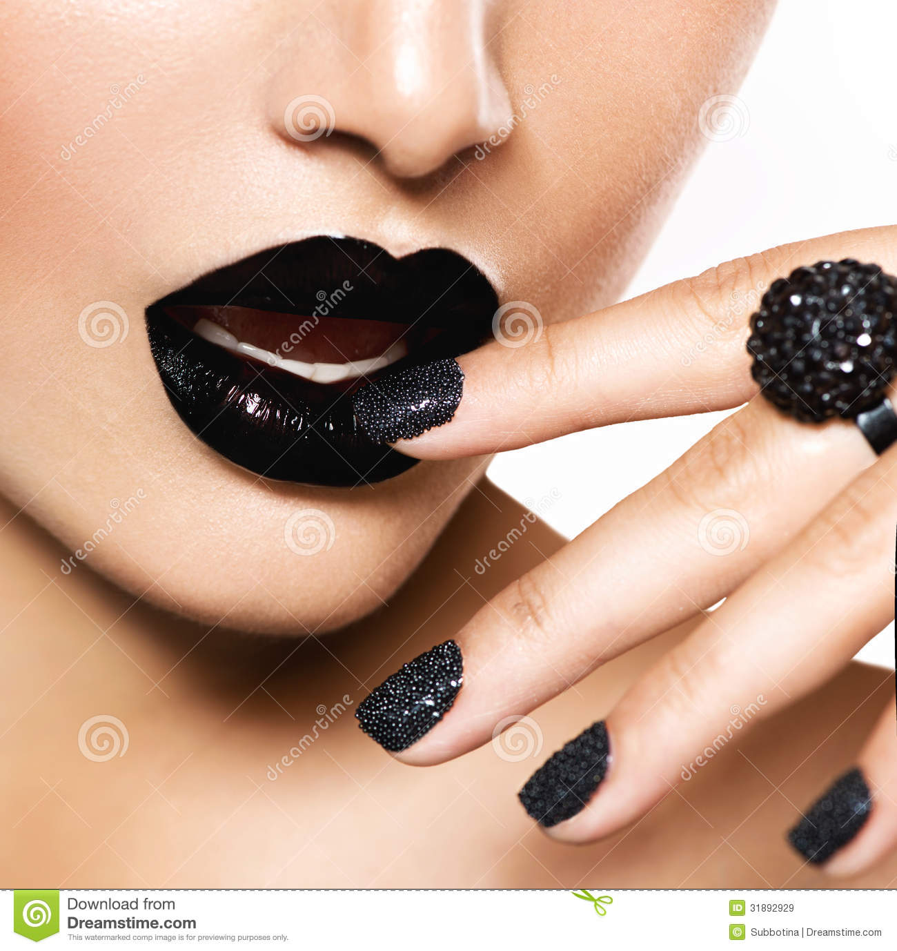 ... Manicure And Black Lips Royalty Free Stock Images - Image: 31892929