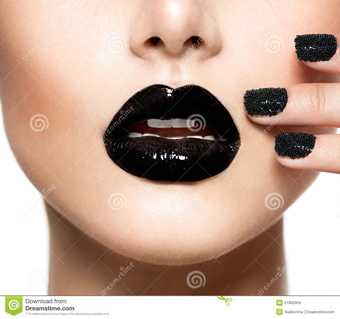 black caviar manicure and black lips stock image image of facial cosmetic 31892959. Black Bedroom Furniture Sets. Home Design Ideas