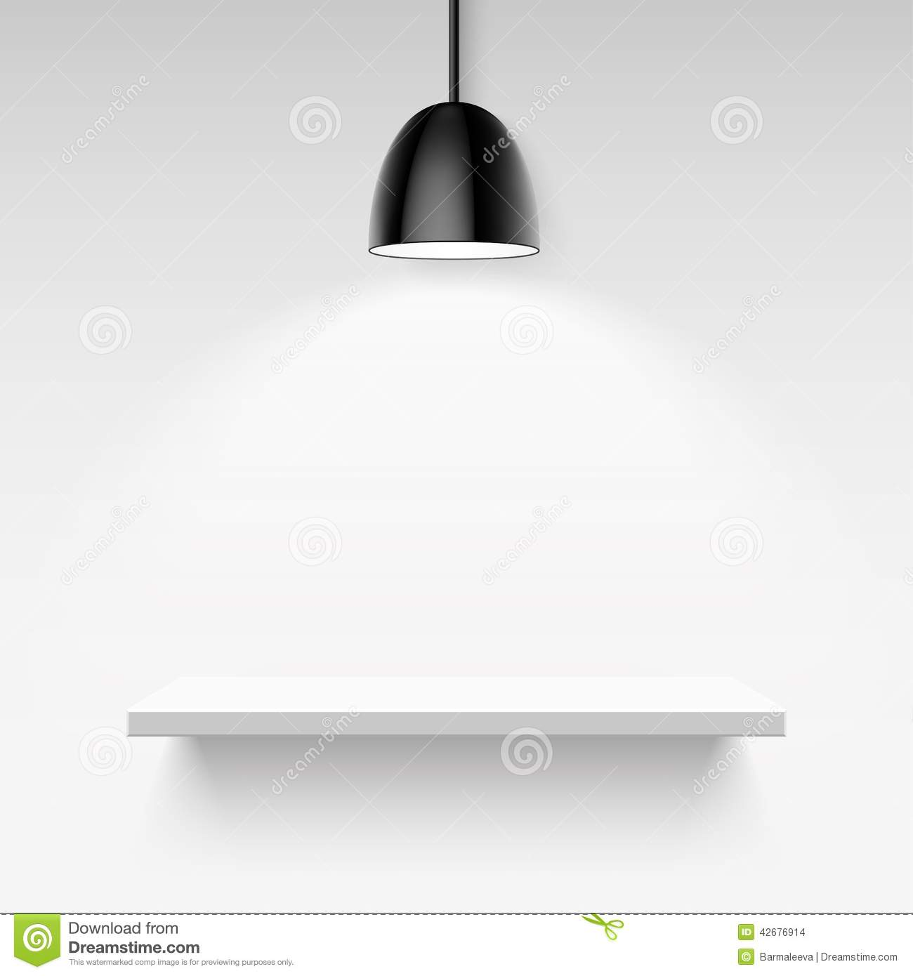 Black Ceiling Lamp Royalty Free Vector Image: Black Ceiling Lamp And Empty White Shelf On A Stock Vector