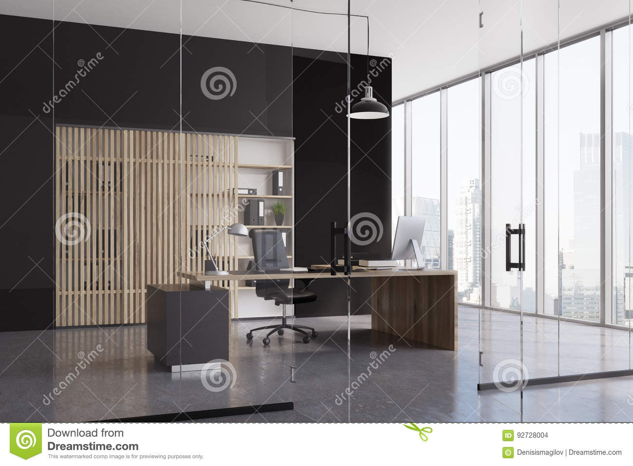 Black Ceo Office Interior Stock Illustration Illustration