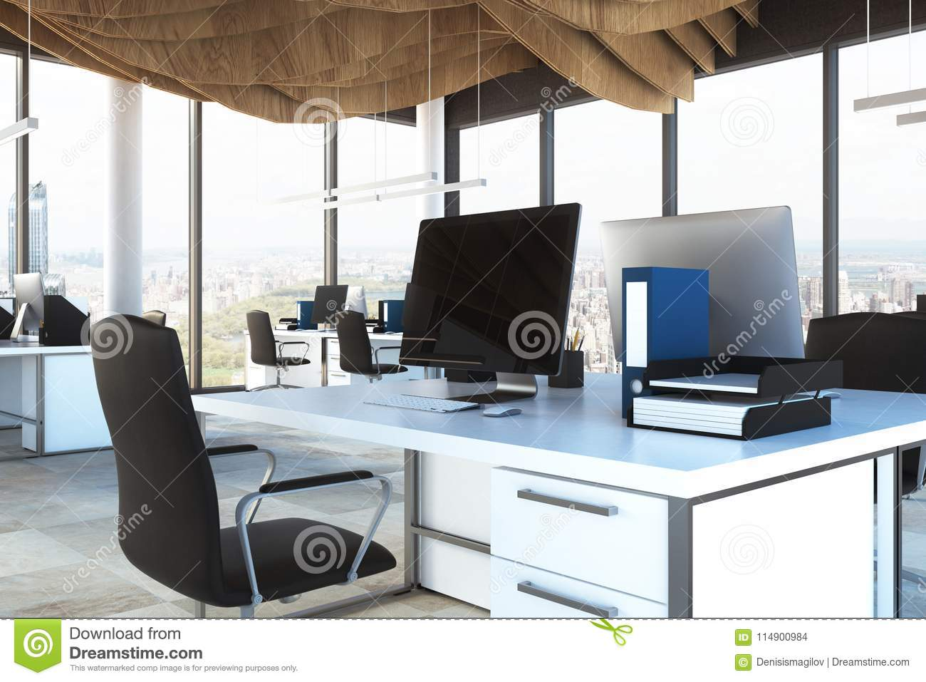 Black Chair Open Space Office Close Up Stock Illustration