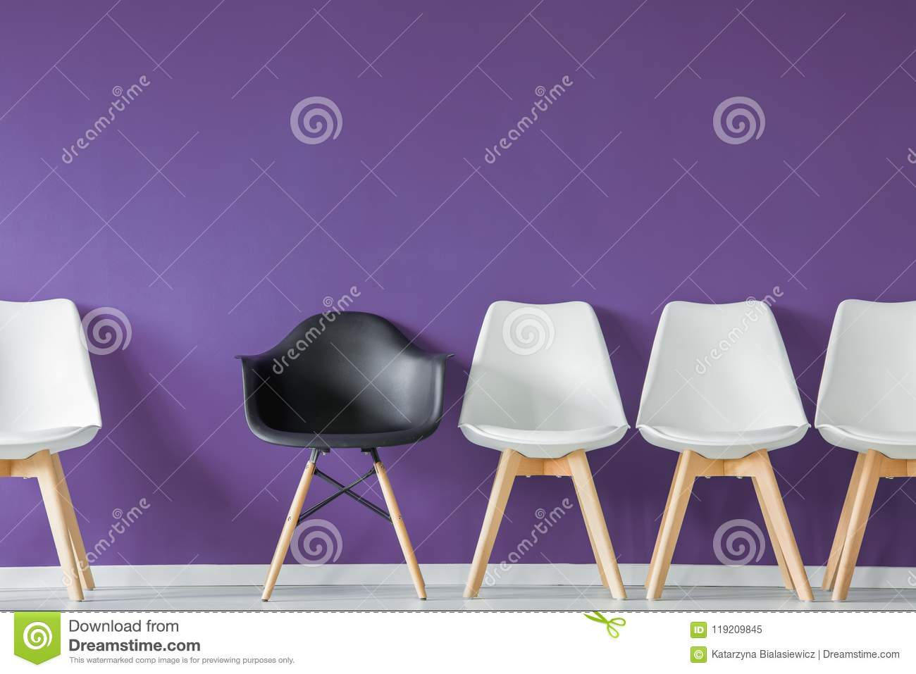 Download Black Chair In Row Stock Image. Image Of Furniture, Plastic    119209845