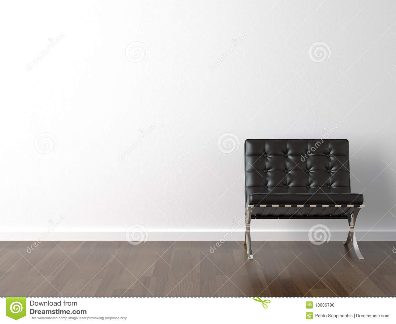 Black Chair On White Wall Stock Photo Image 10606790