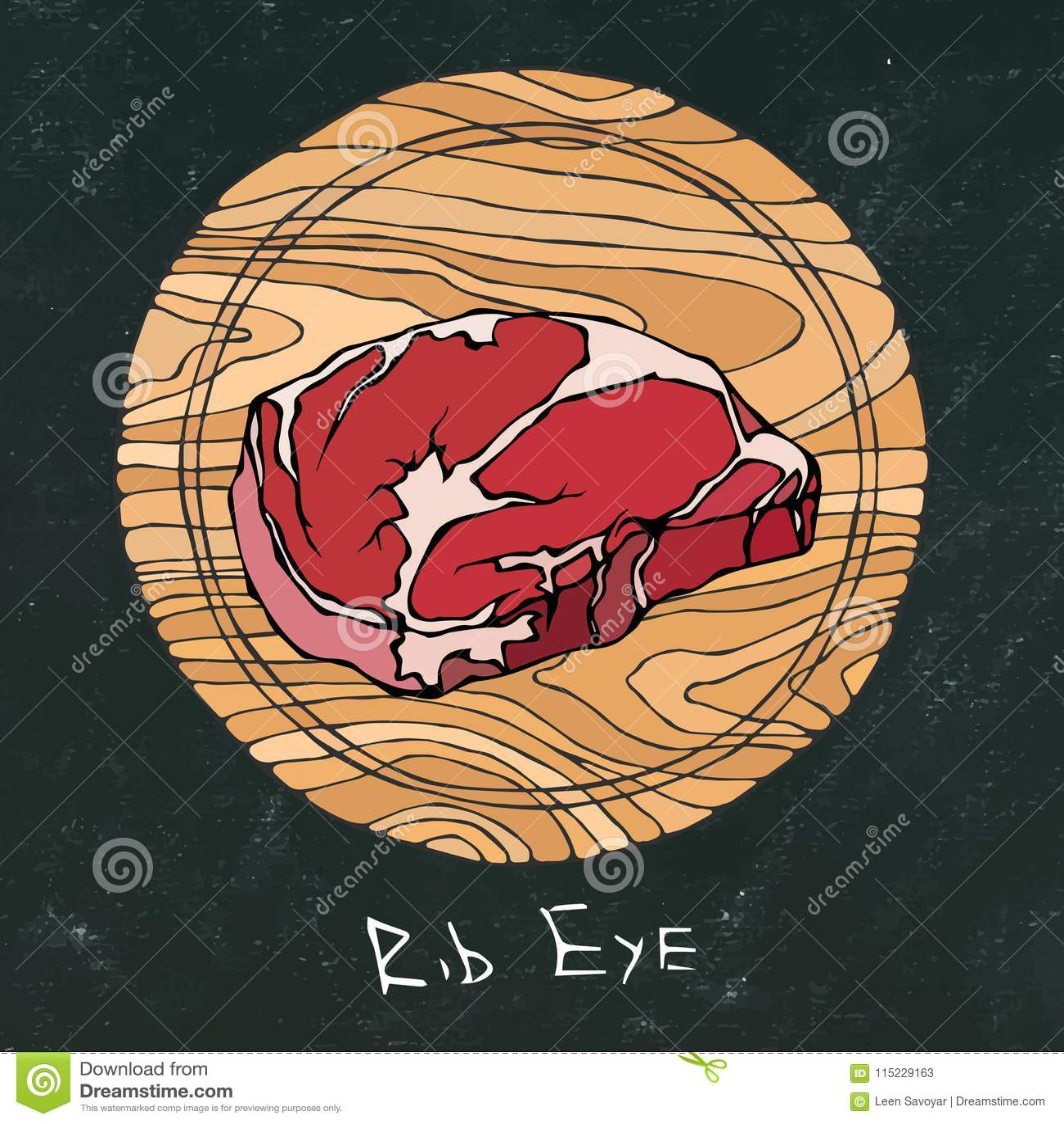 Black Chalk Board. Most Popular Steak on a Round Wooden Cutting Board. Beef Cut. Meat Guide for Butcher Shop or Steak House Restau