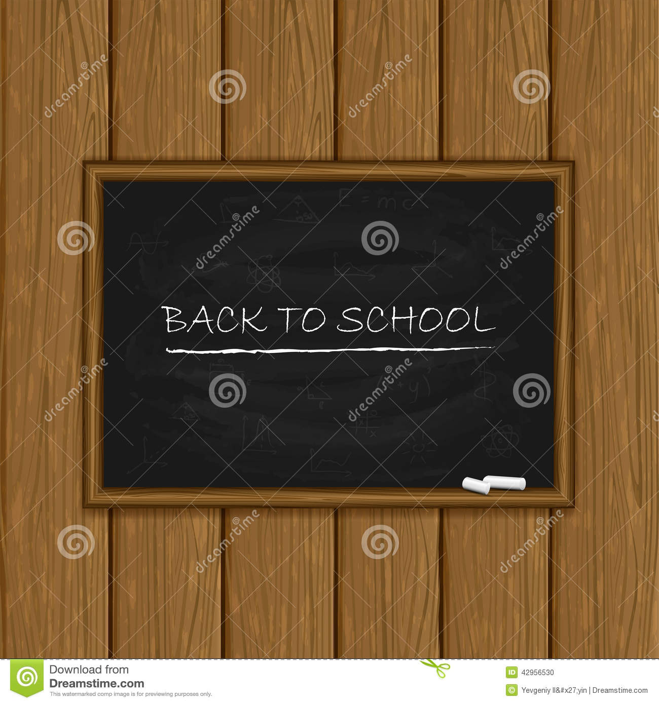 Black Chalkboard On Wooden Background Stock Vector - Image ...