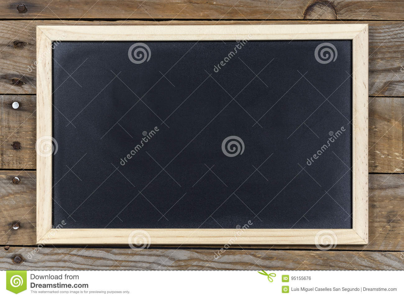 Black Chalkboard With Wooden Frame. Stock Photo - Image of design ...