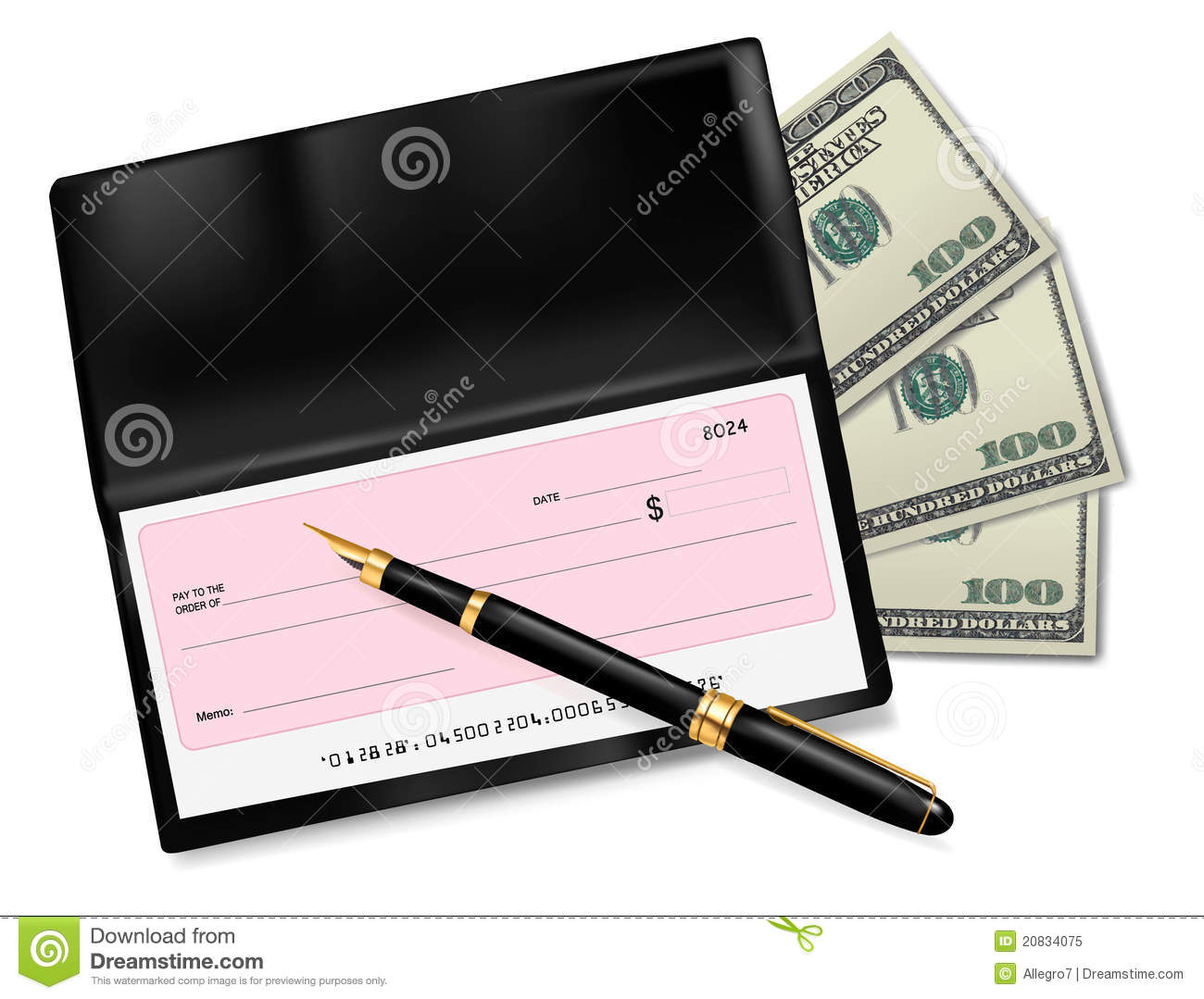 black checkbook with check pen and dollars stock vector