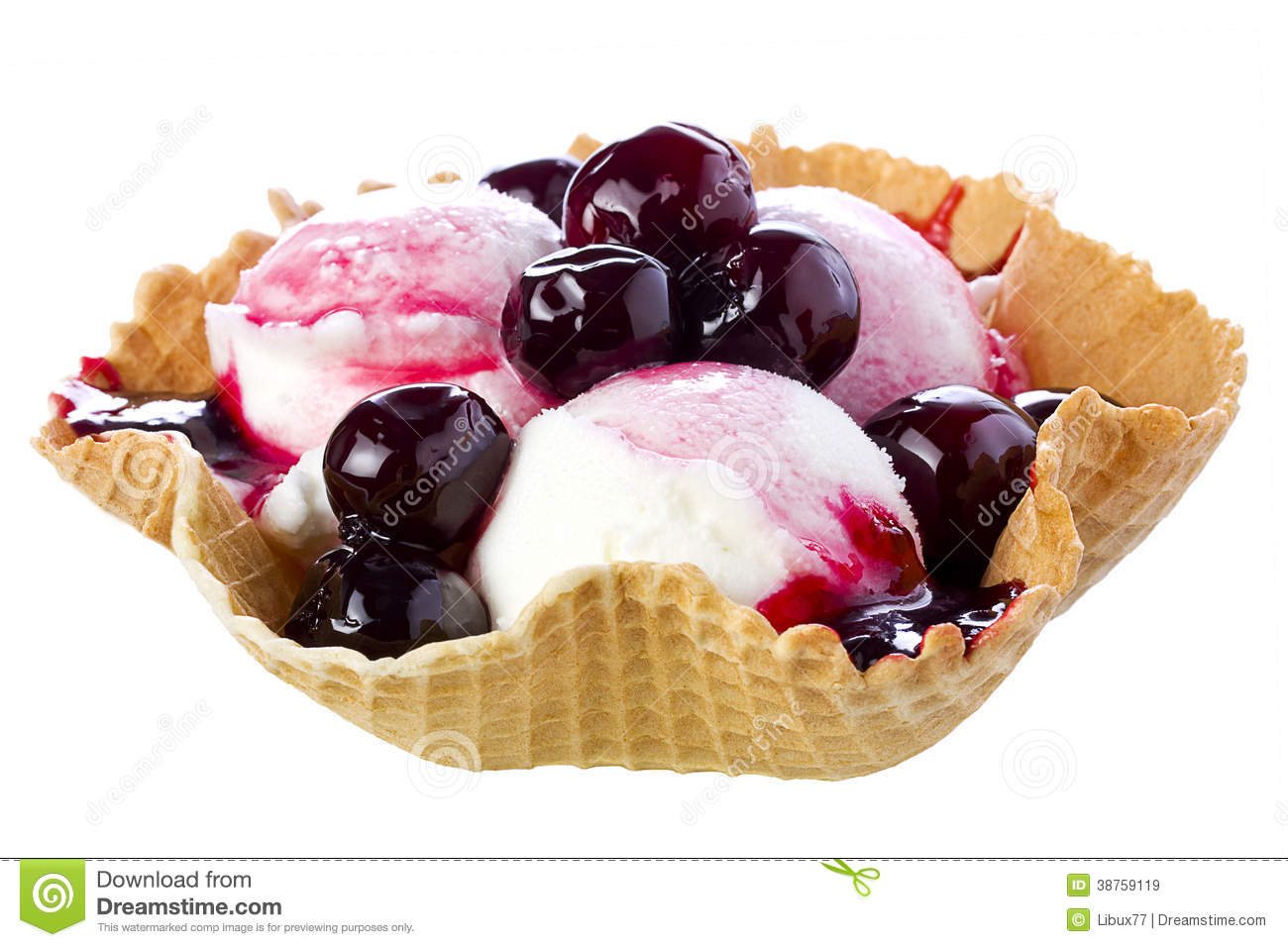 Black Cherry Ice Cream In Waffle Bowl Royalty Free Stock ...
