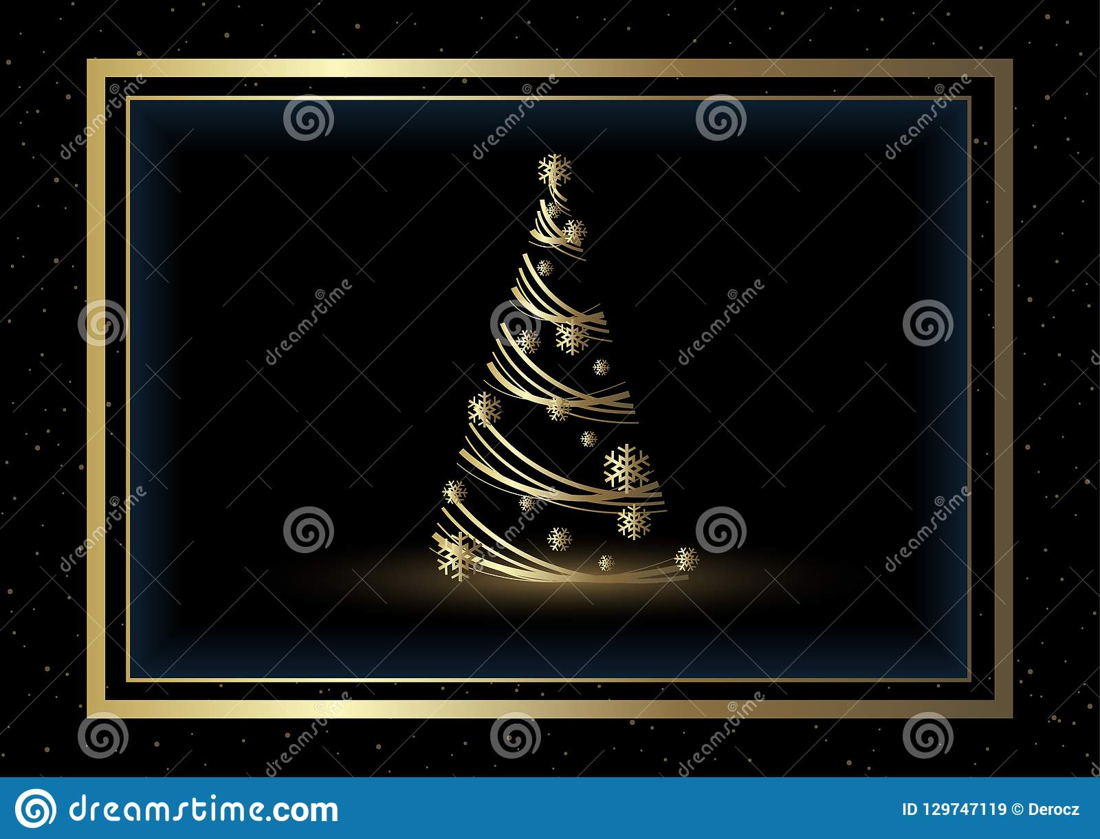 Black Christmas Background with Golden Xmas Tree