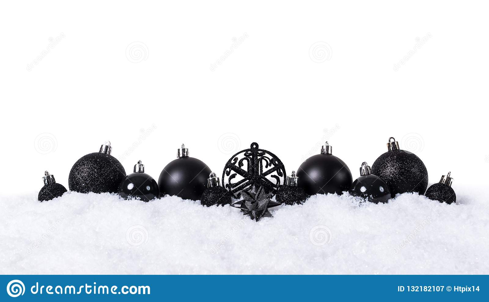 Black Christmas Balls.Black Christmas Balls With Snow Isolated On White Background Stock