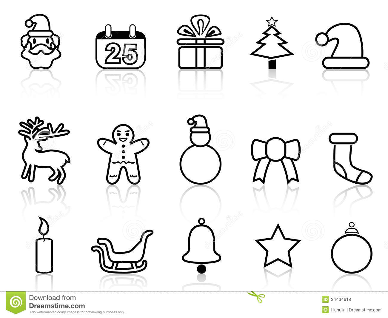 black christmas line icons royalty free stock photos image 34434618