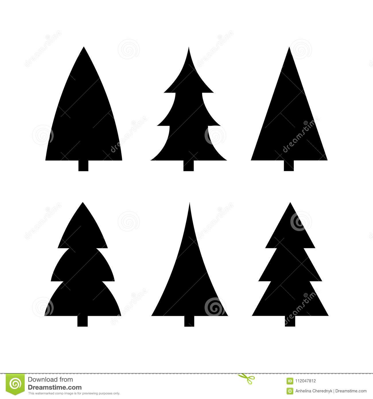 Black Christmas Tree Icon Silhouette Set Vector Stock Vector