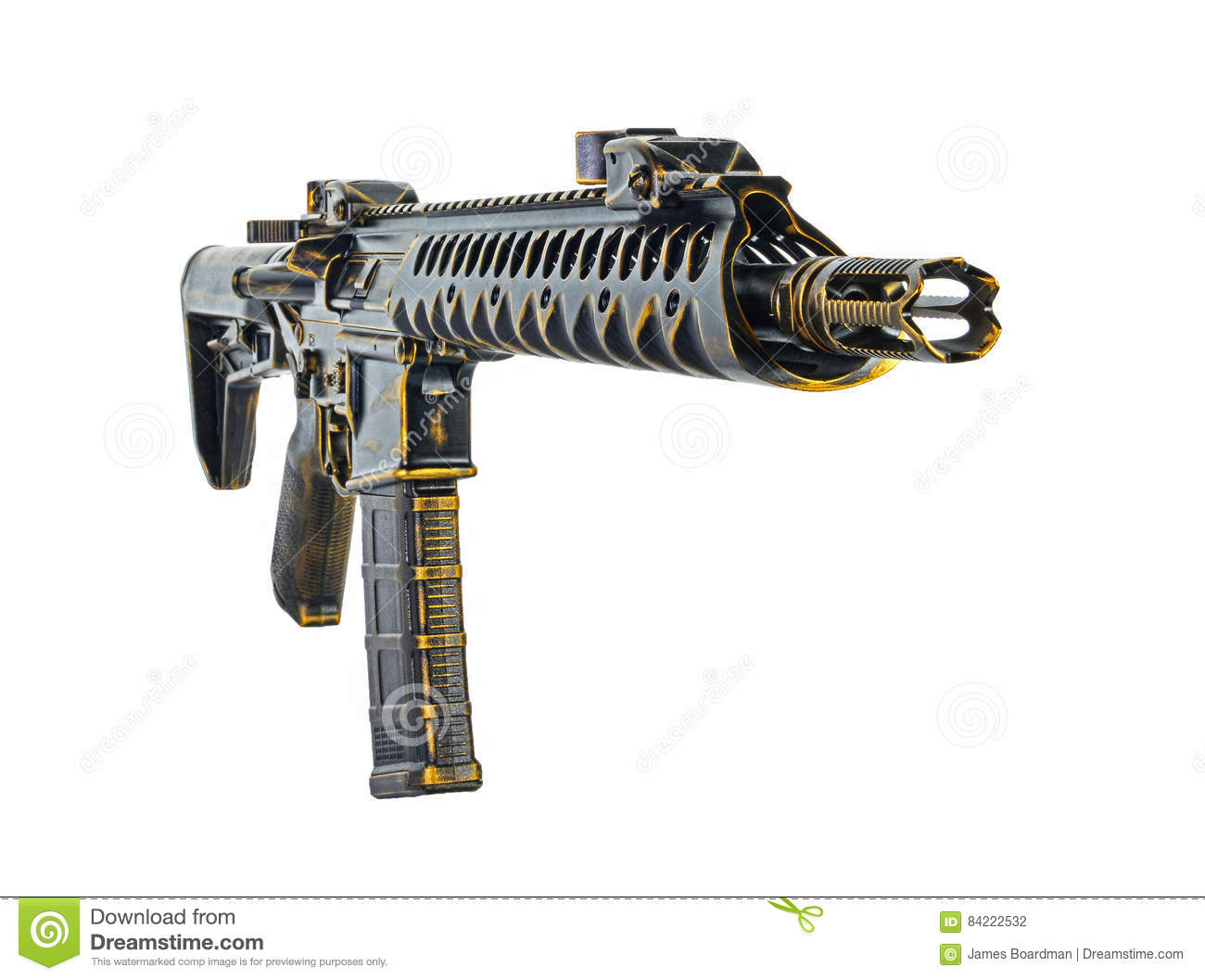 Black Chrome And Gold Distressed SBR AR15 With 30rd Mag Stock Photo ...