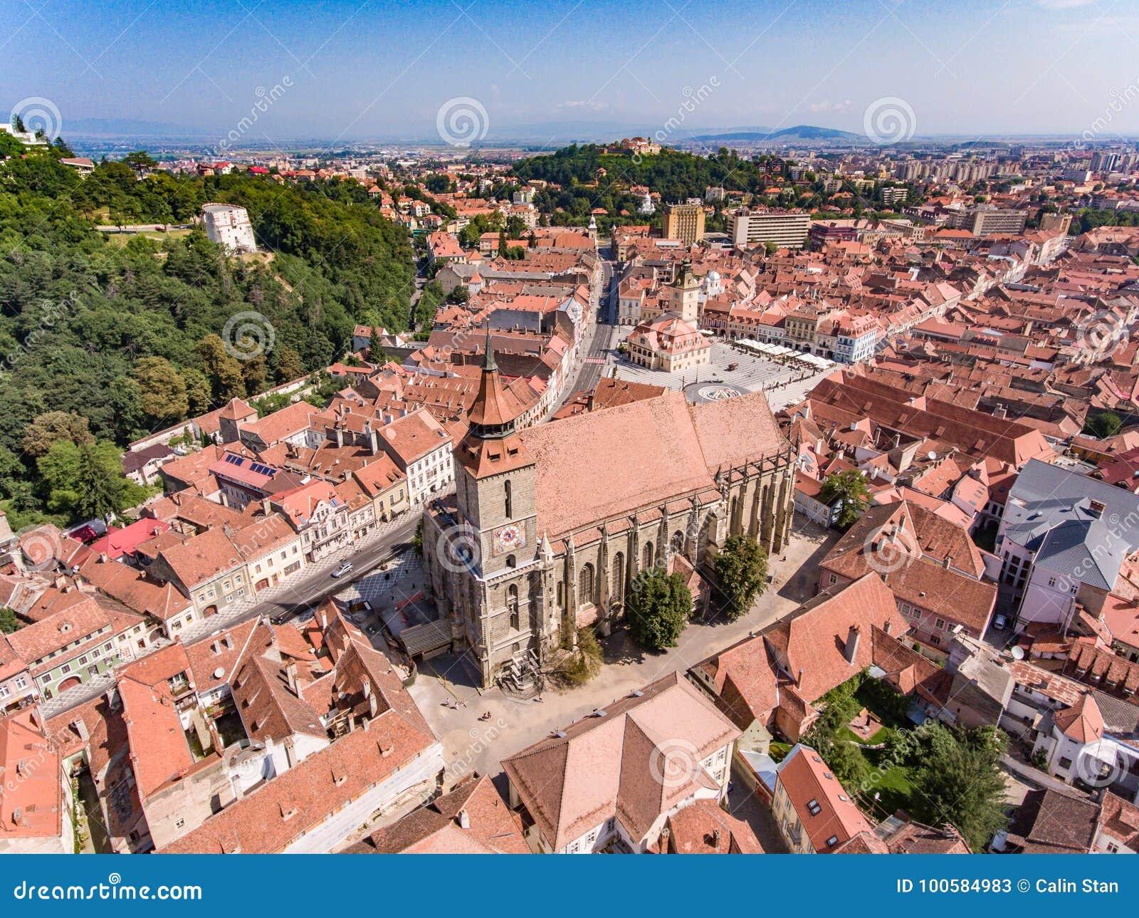 The Black Church in Brasov, Romania, aerial view