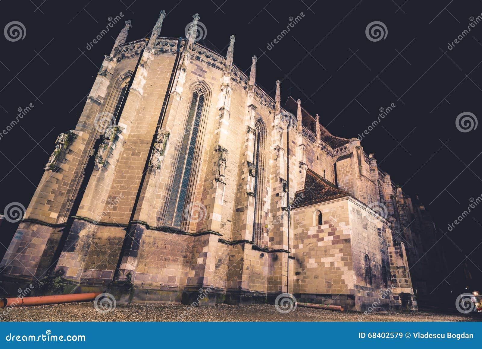 Black church by night brasov romania stock image - Romanian architectural styles ...