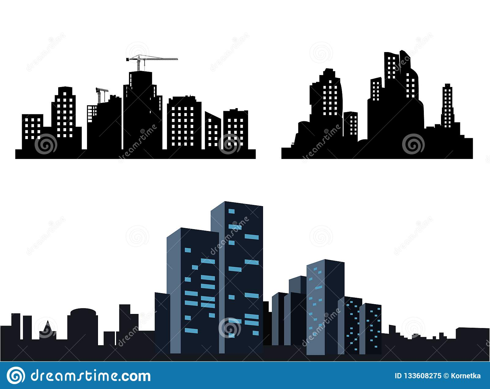 826a008f1cb797 Set Black city icons. Collection of silhouettes of the city with burning  Windows. Vector illustration isolated on white background.