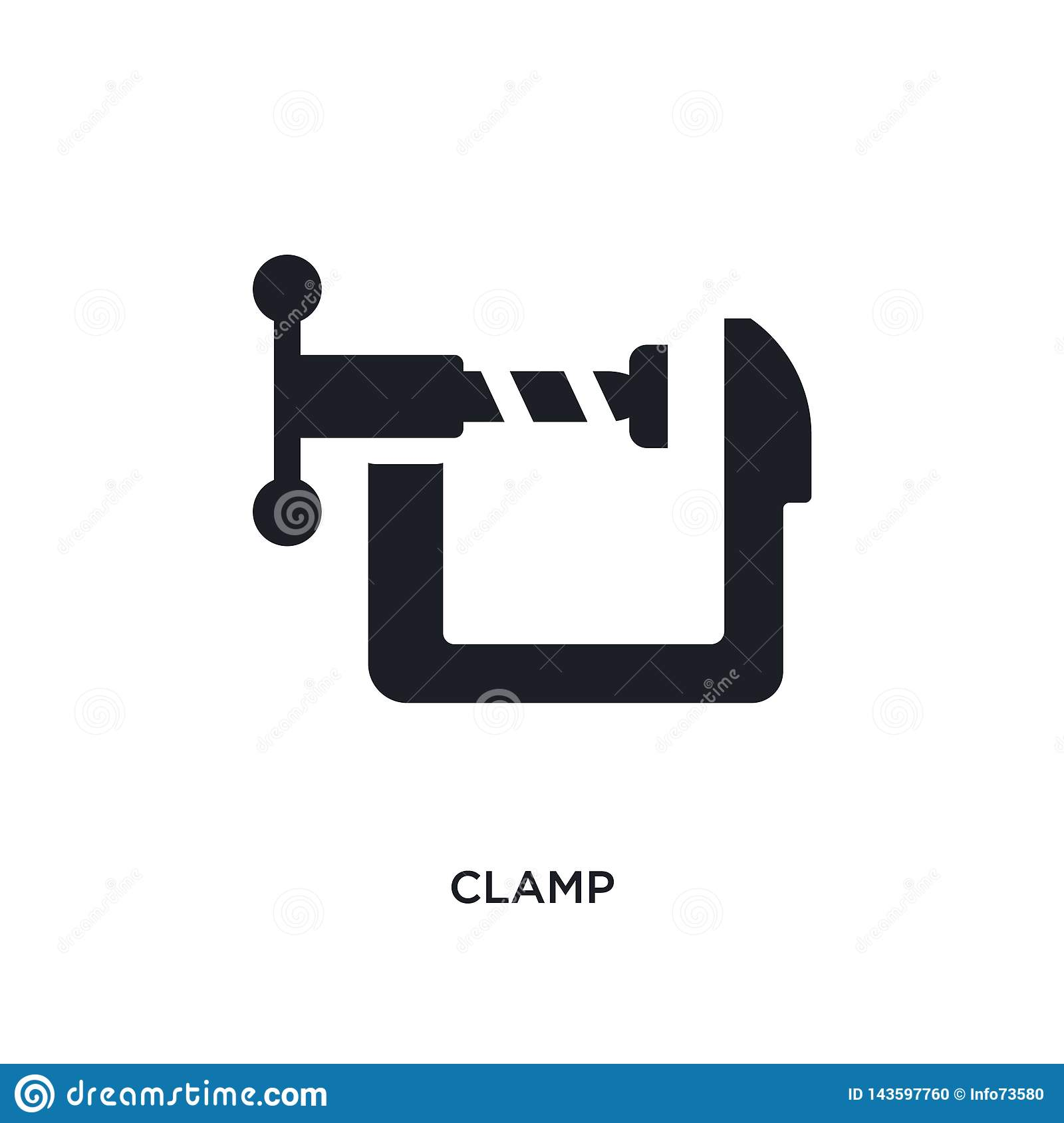 black clamp isolated vector icon. simple element illustration from industry concept vector icons. clamp editable logo symbol