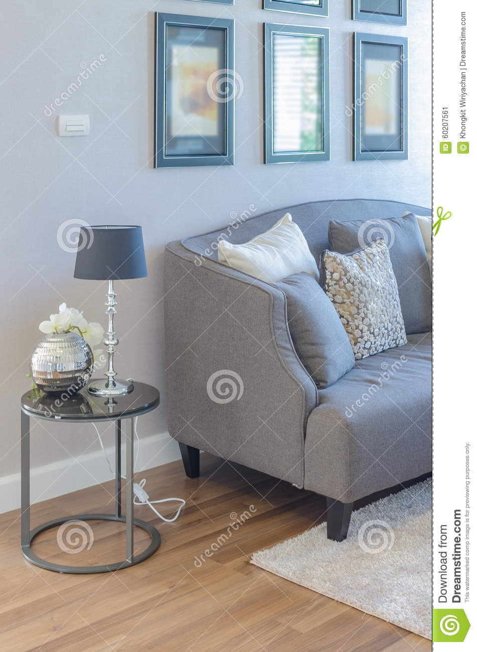 Black Classic Lamp Style On Round Side Table Stock Image - Image of ...