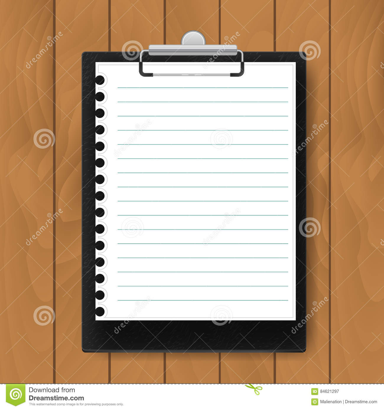 black clipboard with lined paper on wood background mockup vector