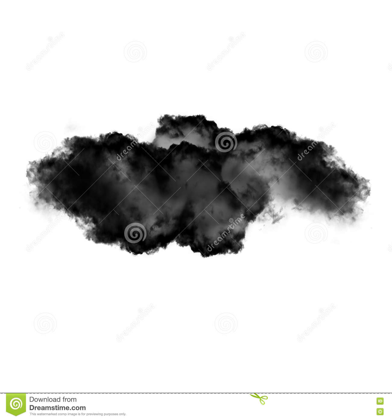 Black cloud or smoke isolated over white background
