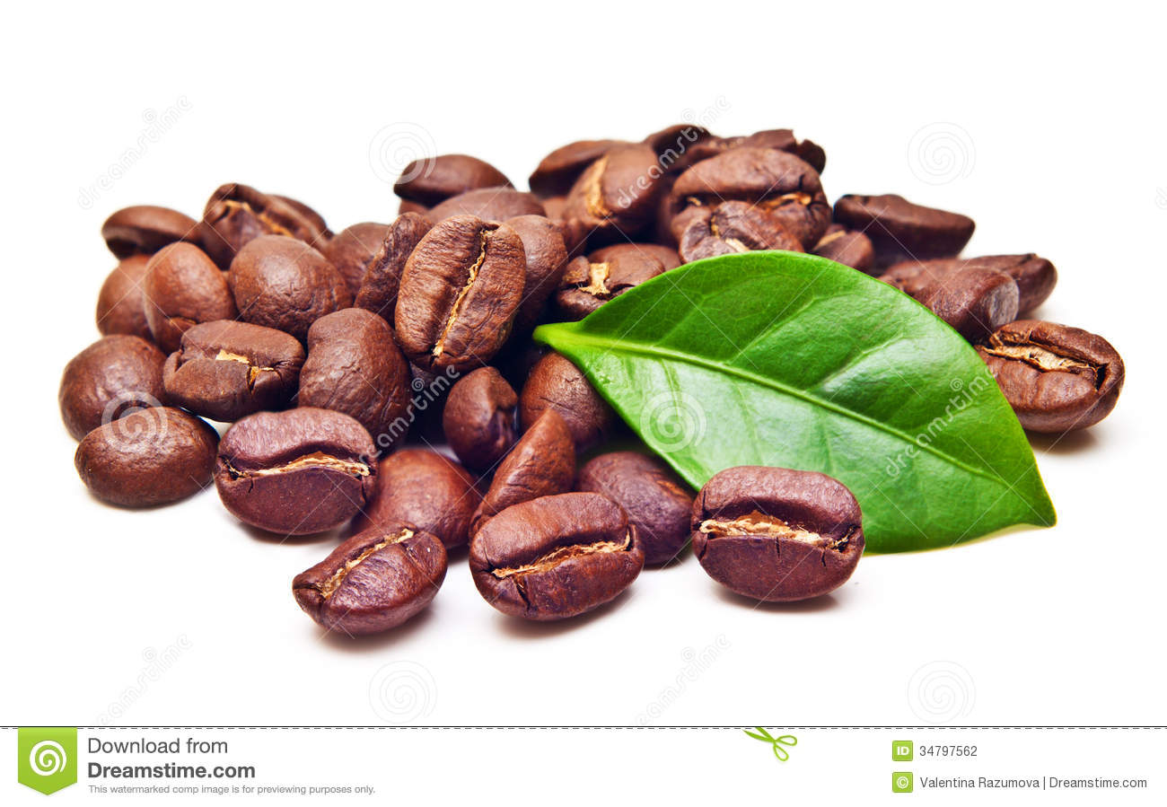 Black Coffee Beans Grain With Leaf Stock Photography - Image: 34797562 HD Wide Wallpaper for Widescreen