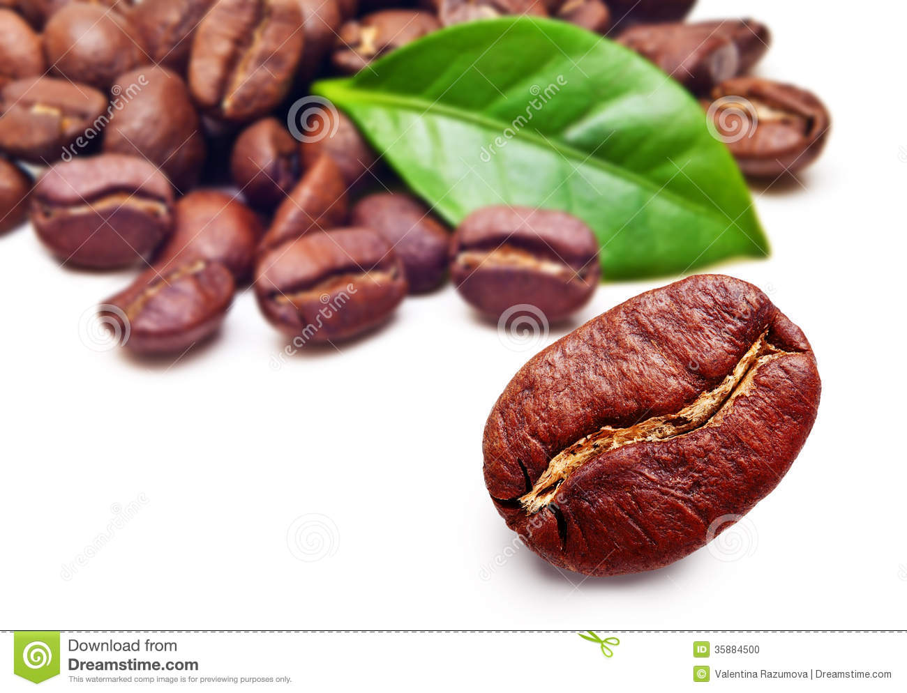 Black Coffee Beans Grain With Leaf Stock Photo - Image: 35884500 HD Wide Wallpaper for Widescreen