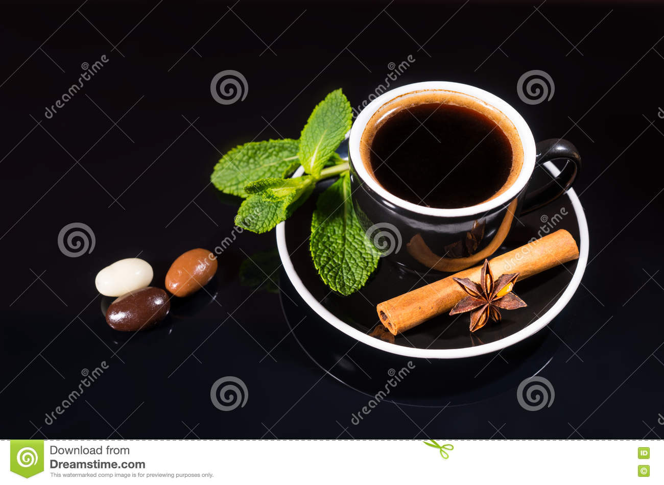 Black Coffee with Chocolate Covered Coffee Beans