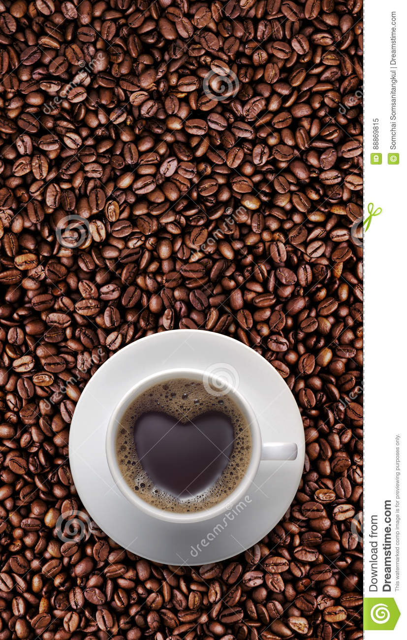 Black coffee cup of love with heart shape on coffee bean stock royalty free stock photo biocorpaavc Gallery
