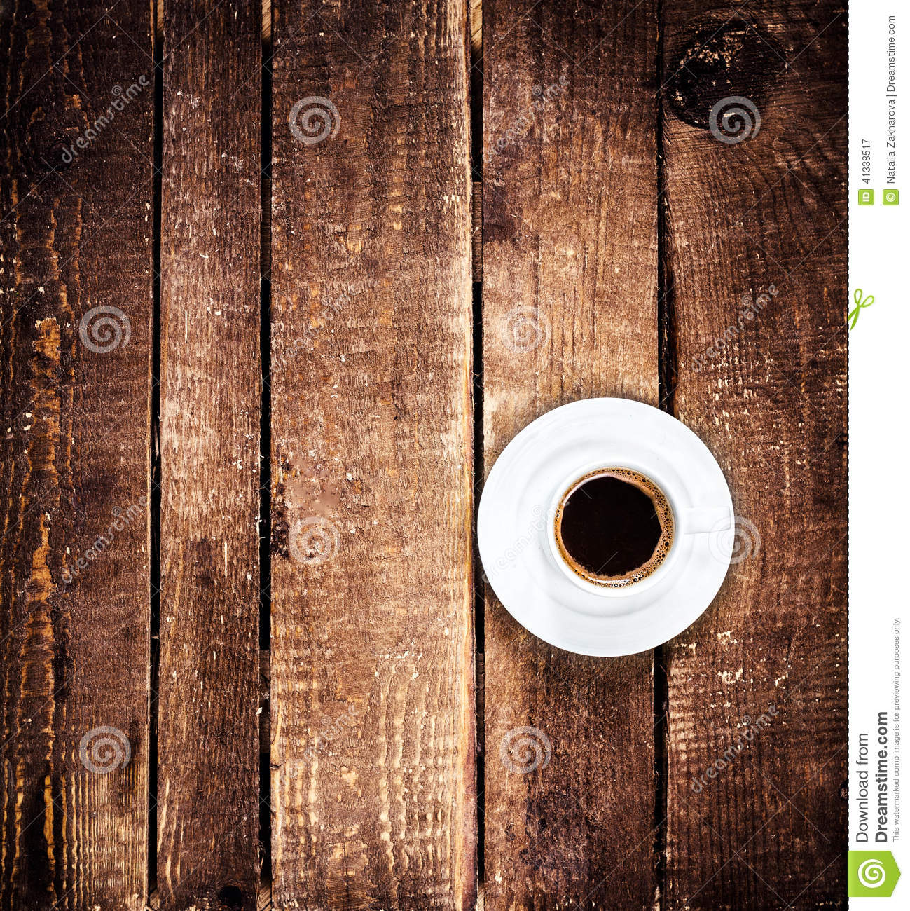 Wooden Table Top View ~ Black coffee cup on old wooden table with copyspace top