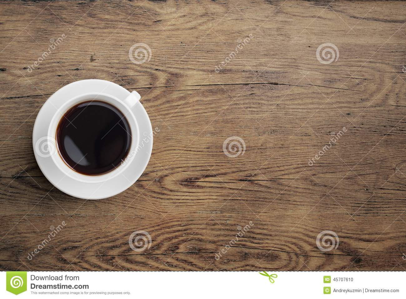 Wooden Table Top View ~ Black coffee cup on old wooden table top view stock photo