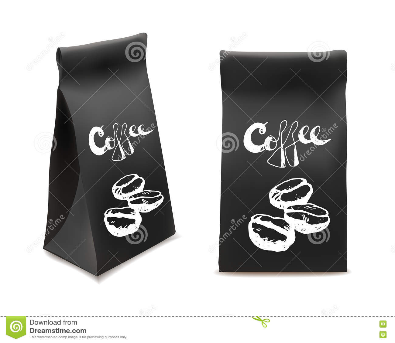 Black Coffee Packaging Design Set. Template For Beverage ...
